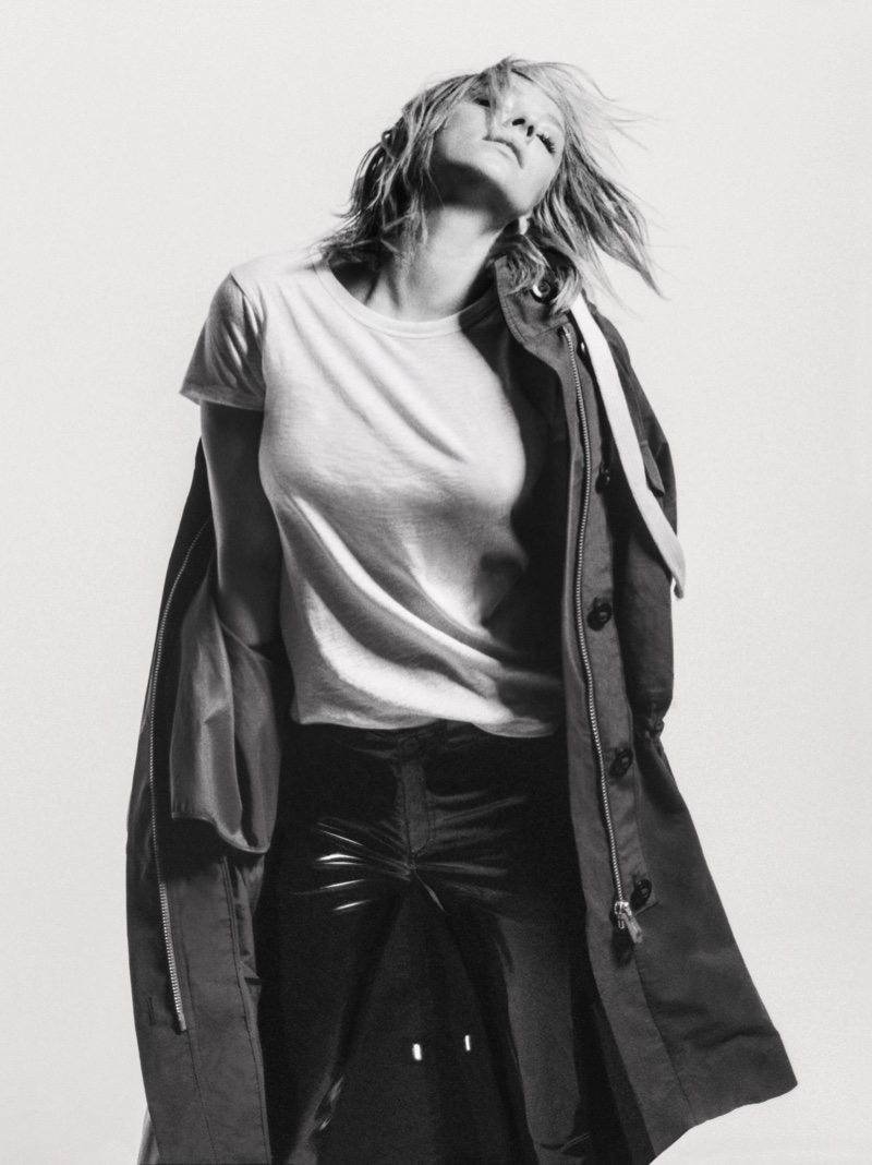 Rag & Bone Voltaire Parka in Dark Olive, The Tee in Bright White and RBW23 in Black Patent