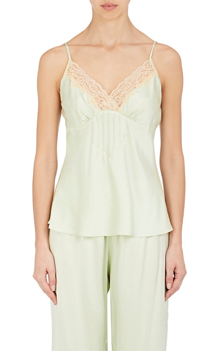 Raven & Sparrow by Stephanie Seymour Lace Trimmed Stretch Silk Charmeuse Camisole