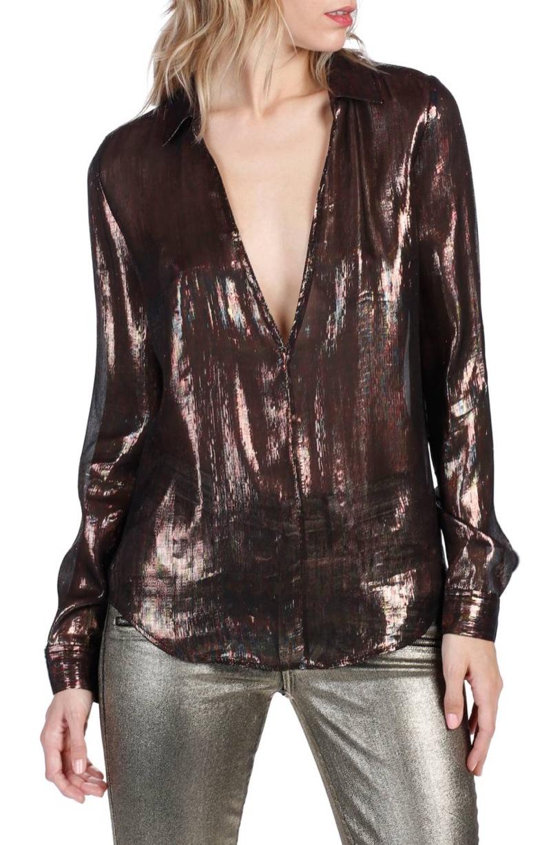 Rosie HW x Paige Bessy Metallic Silk Blouse $298
