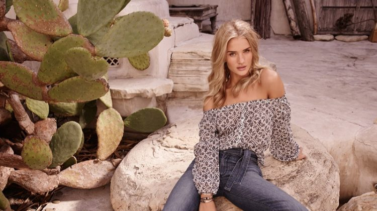 Rosie Huntington-Whiteley poses in Paige Denim's spring 2017 advertising campaign