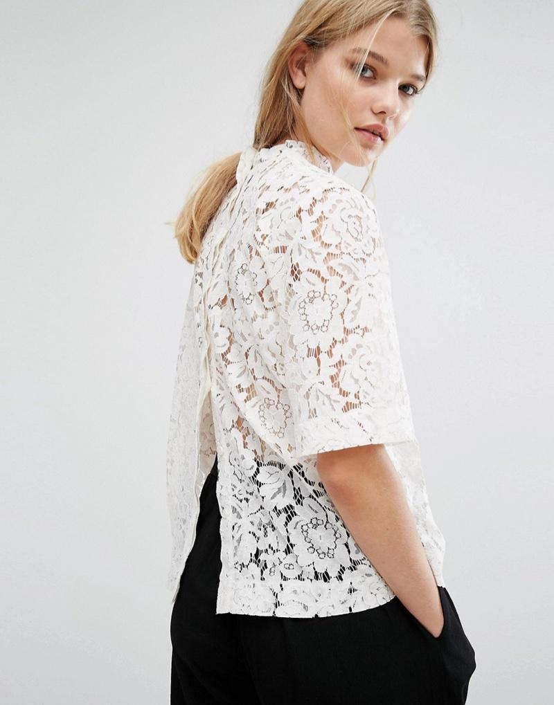 Samsoe & Samsoe's lace top features a chic button back