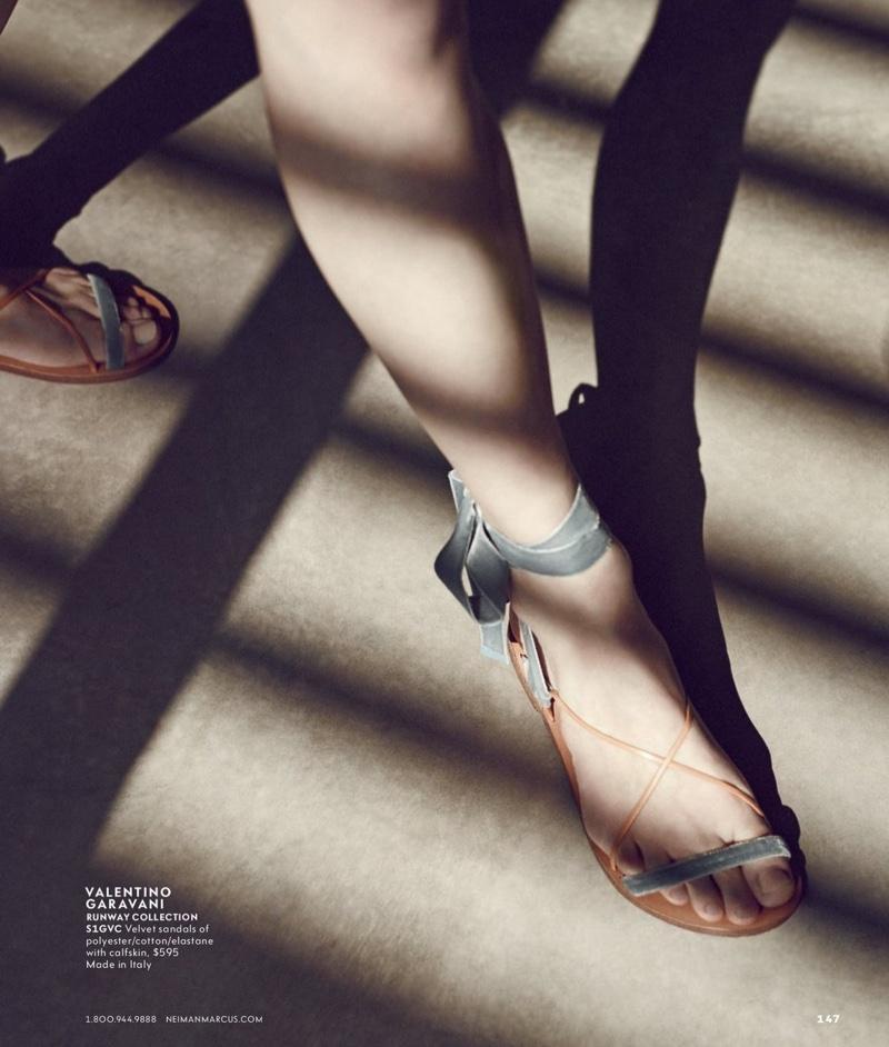 Valentino Velvet Lace-Up Flat Sandal
