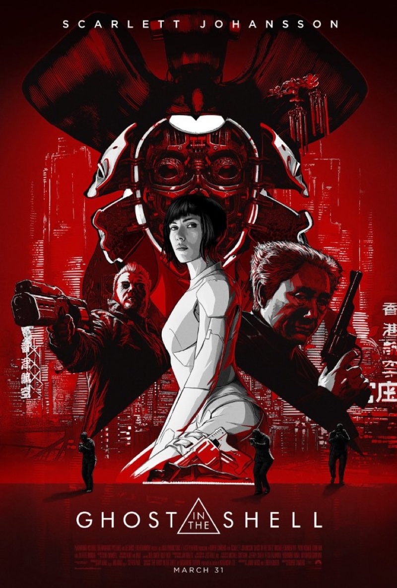 Scarlett Johansson on Ghost in the Shell illustrated movie poster