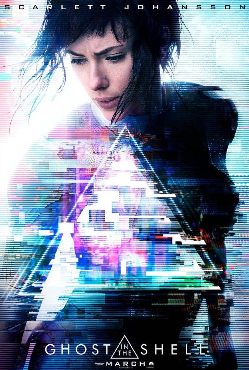 Scarlett Johansson on Ghost in the Shell movie poster