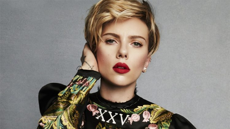 Scarlett Johansson poses in cropped top and embroidered skirt from Gucci
