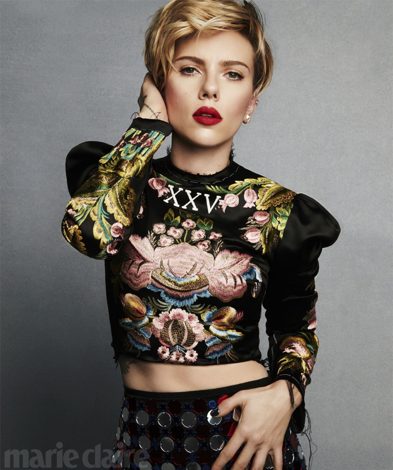 Scarlett Johansson Stars in Marie Claire Magazine, Talks 'Ghost in the Shell'