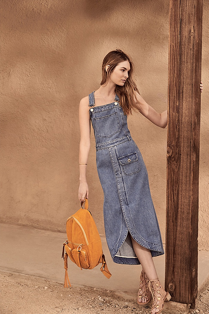 See by Chloe Denim Pocket Dress, Patti Backpack and Bill Lace Up Sandals