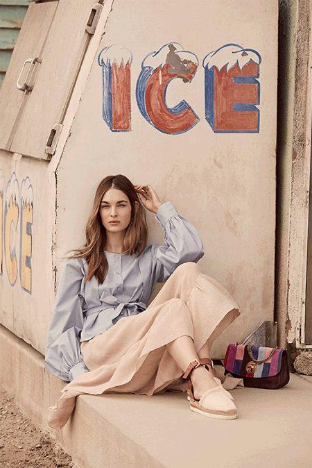 See by Chloe Embellished Poplin Blouse, Ruffle Culotte Shorts, Patchwork Lois Shoulder Bag and Glyn Espadrille Wedge Sandals