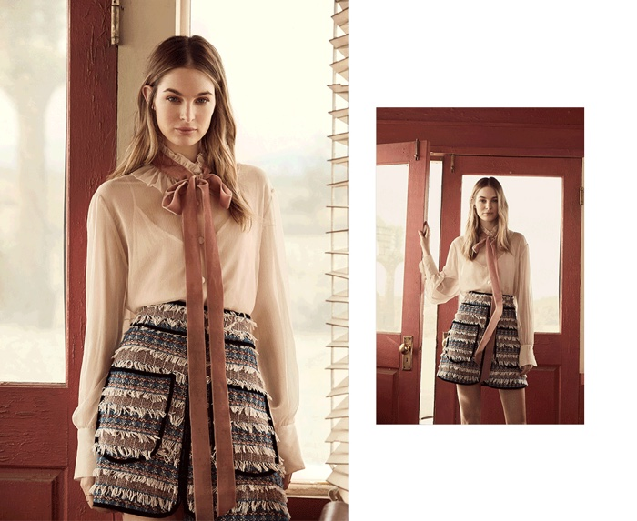 See by Chloe Tie Neck Blouse and Tweed Skirt