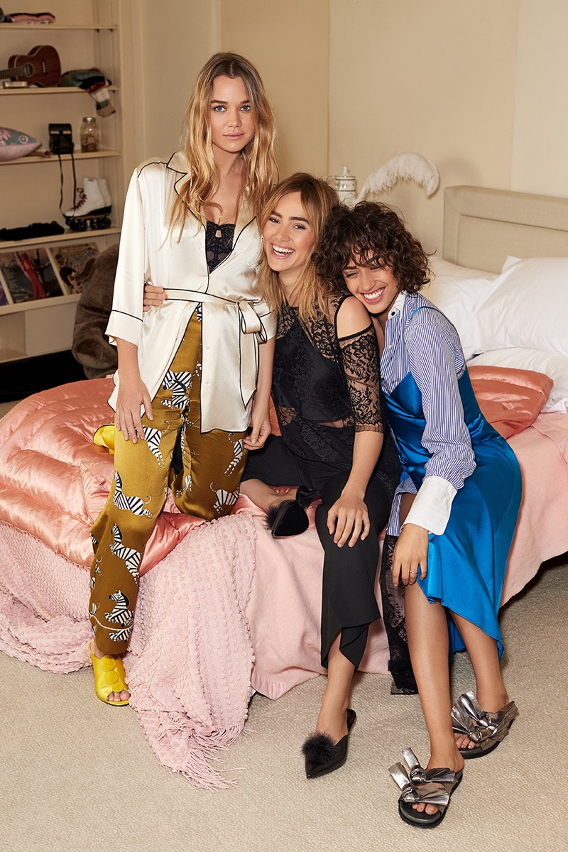 Immy Waterhouse, Suki Waterhouse and Alanna Arrington wear lingerie inspired looks for Shopbop's spring 2017 campaign