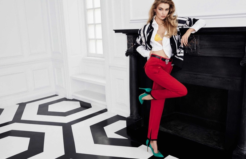 Model Stella Maxwell wears bold pant styles for the fashion editorial