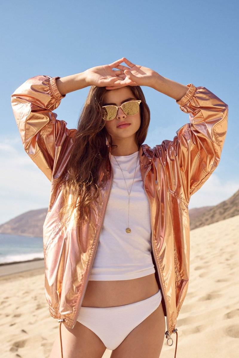 Topshop features metallic bomber in spring 2017 campaign