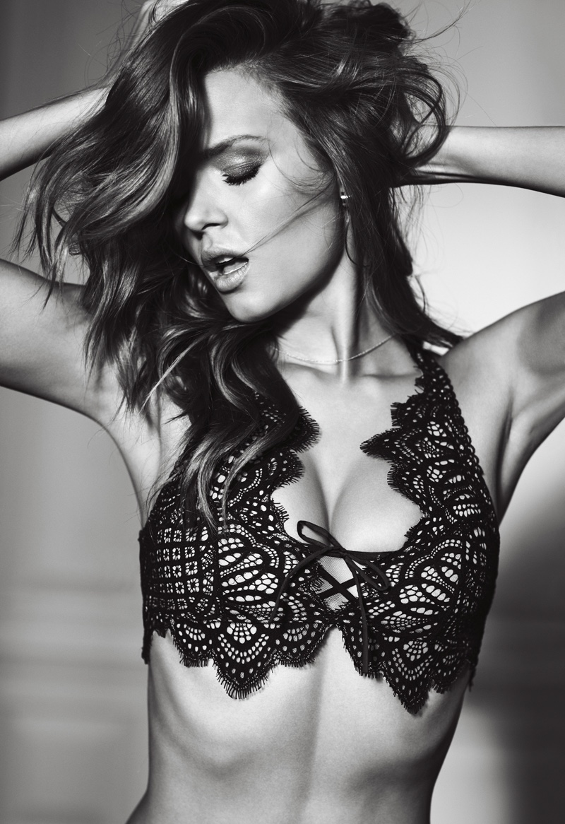 Josephine Skriver models Victoria's Secret Dream Angels Scallop Lace Bralette