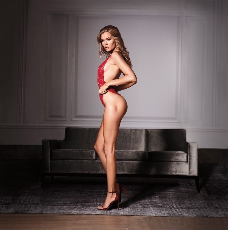 67932177cf ... Josephine Skriver flaunts her figure in Victoria s Secret Very Sexy  crossback lace plunge teddy