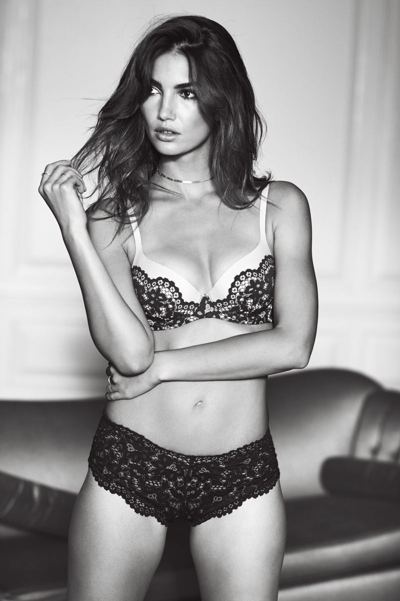 Lily Aldridge wears Victoria's Secret Body by Victoria Demi Bra and Lace Panty