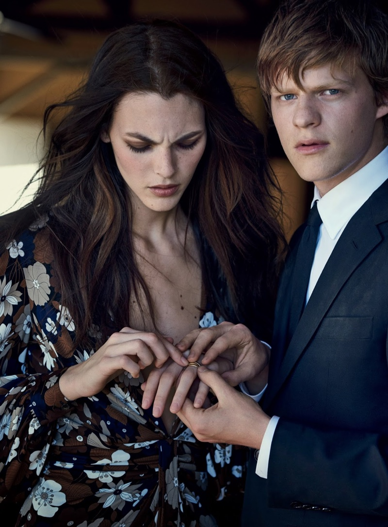 Looking serious, Vittoria Ceretti poses in Michael Kors Collection dress with Cartier ring