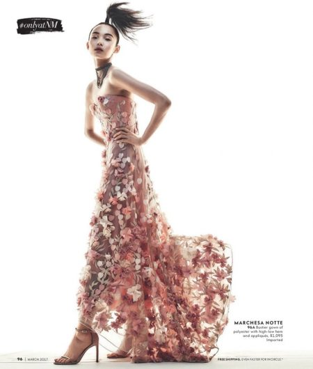 Xiao Wen Ju Poses in Glamorous Spring Dresses for Neiman Marcus