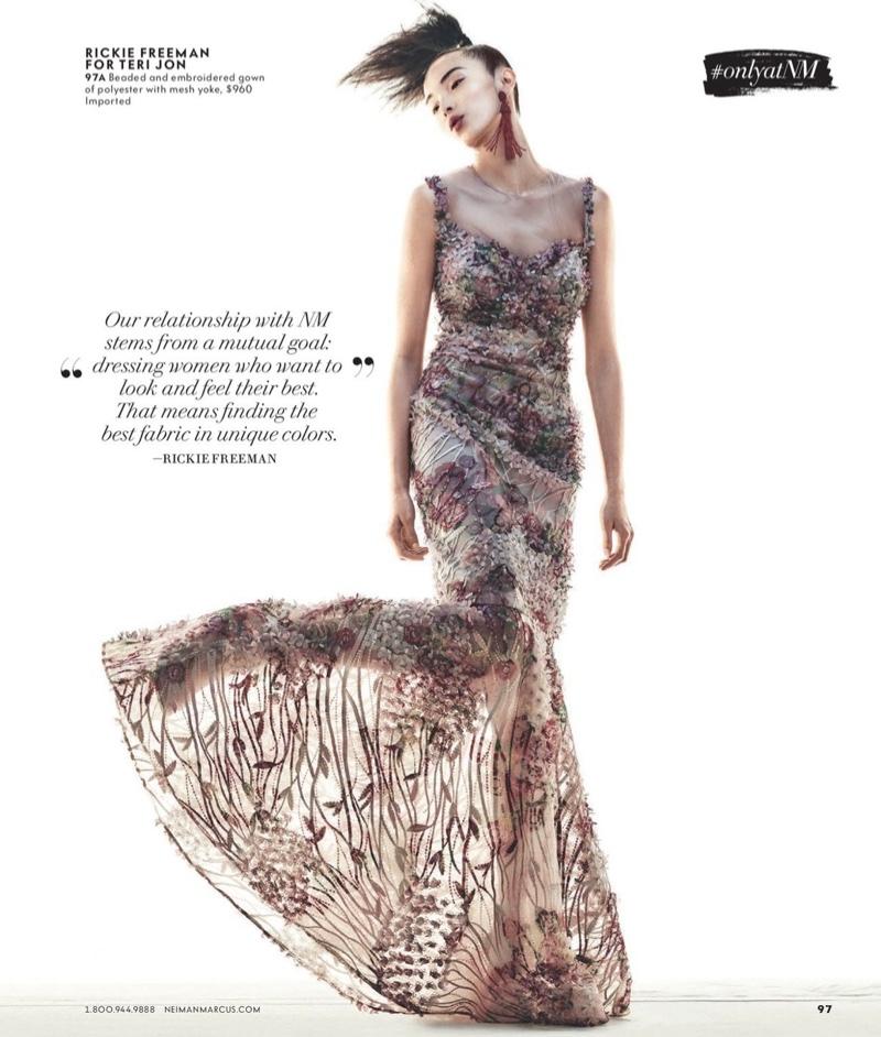 Rickie Freeman for Teri Jon Sleeveless Floral Illusion Mermaid Gown