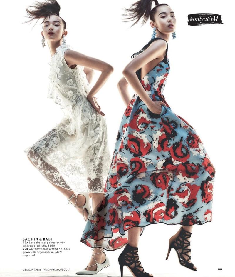 (Left) Sachin & Babi Pointe Asymmetric Lace Cocktail Dress (Right) Sachin & Babi Academy Sleeveless Floral Ottoman Gown