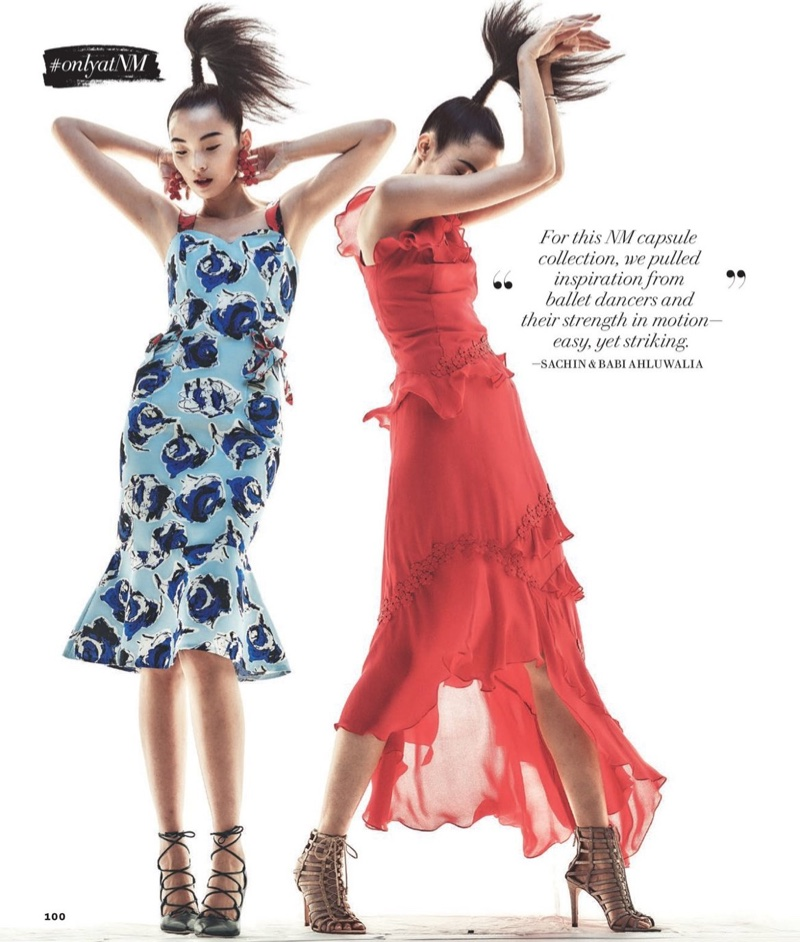(Left) Sachin & Babi Alley Sleeveless Floral Fit-and-Flare Dress (Right) Sachin & Babi Lake Sleeveless Silk Georgette Ruffle Gown