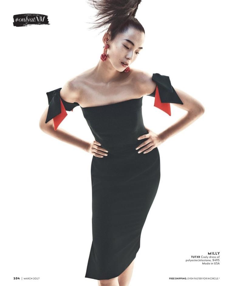 Milly Strapless Bow-Sleeve Italian Cady Midi Dress