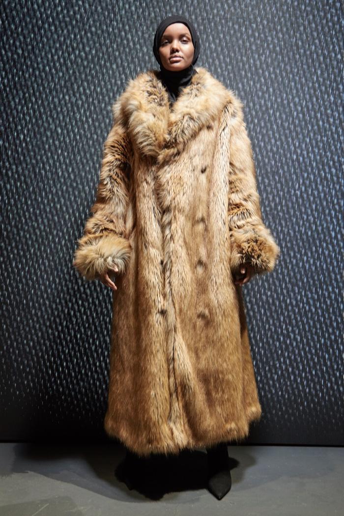 Halima Aden wears hijab with fur coat from Yeezy Season 5