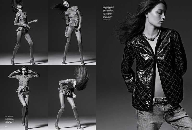 (Left) Yumi Lambert models Balenciaga top and boots (Right) The model wears Levi's jeans with vintage Chanel jacket