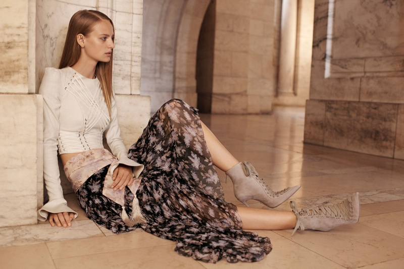 Ine Neefs models Cavalier Tie Up Bodice and Stranded Tier Skirt in Zimmermann's spring 2017 campaign
