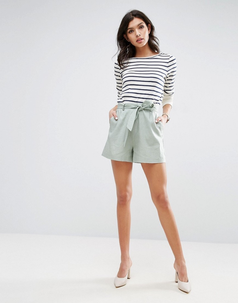 ASOS Belted Linen Shorts