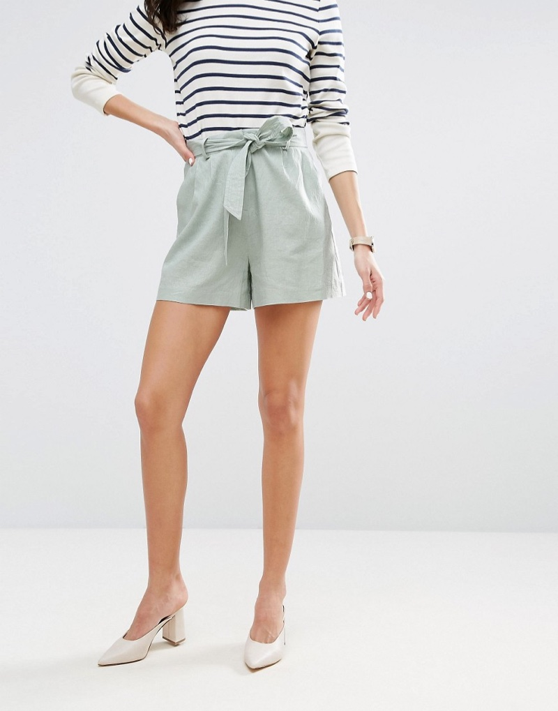 The Belted Linen Shorts come in mint green