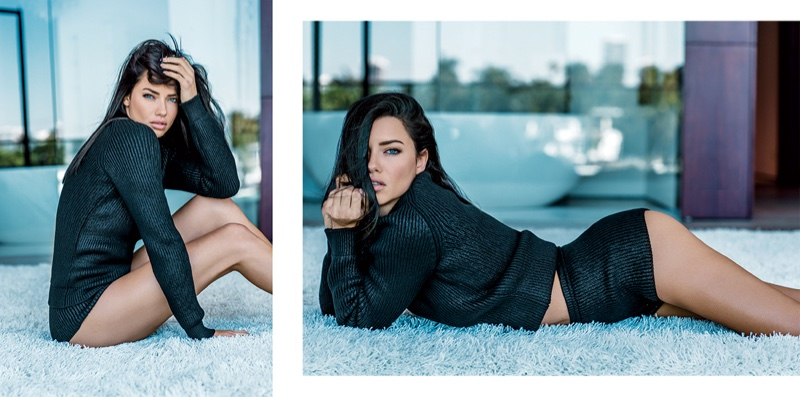 Adriana Lima poses in Tomas Maier pullover and shorts