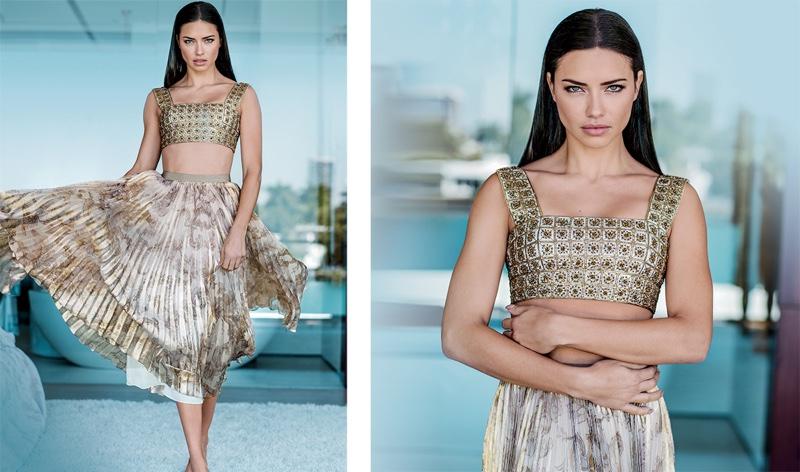Shining in metallics, Adriana Lima wears Oscar de la Renta top and skirt