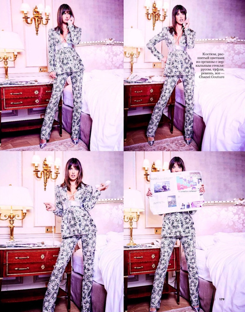 Suiting up, Alessandra Ambrosio wears Chanel Haute Couture pantsuit