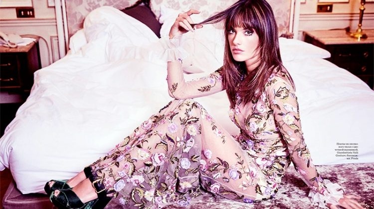 Looking feminine in florals, Alessandra Ambrosio wears Giambattista Valli Haute Couture gown and Prada platforms