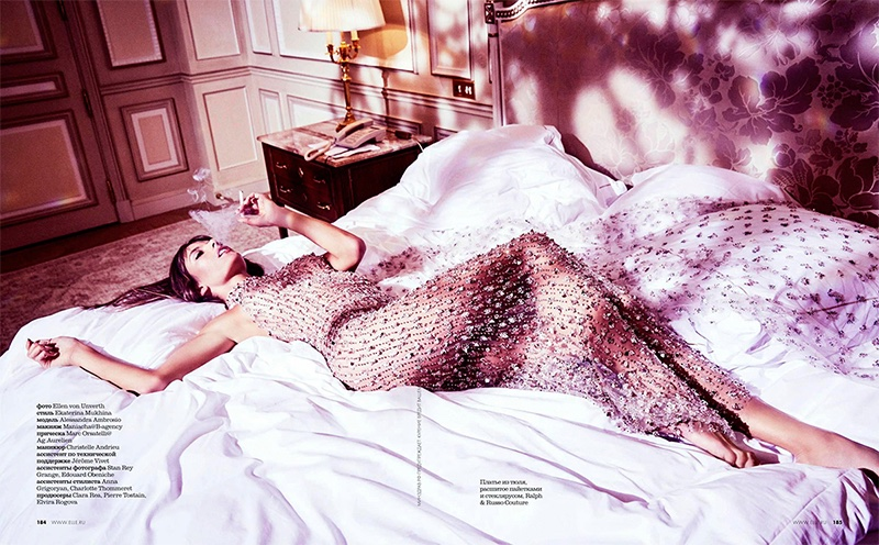 Shining in crystals, Alessandra Ambrosio poses in Ralph & Russo Haute Couture gown