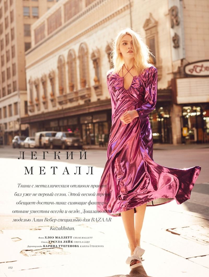Aline Weber models Preen by Thornton Bregazzi metallic dress