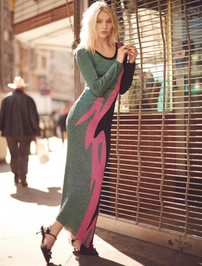 Alne Weber models color-blocked DSquared2 dress
