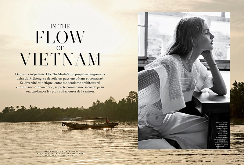 Model Aneta Pajak poses in Vietnam for the fashion editorial