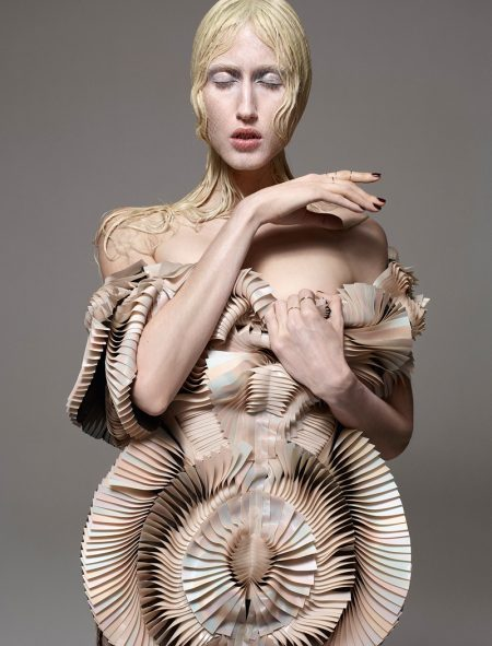 Photographed by Jean-Baptiste Mondino, Anna Cleveland wears sculptural shapes