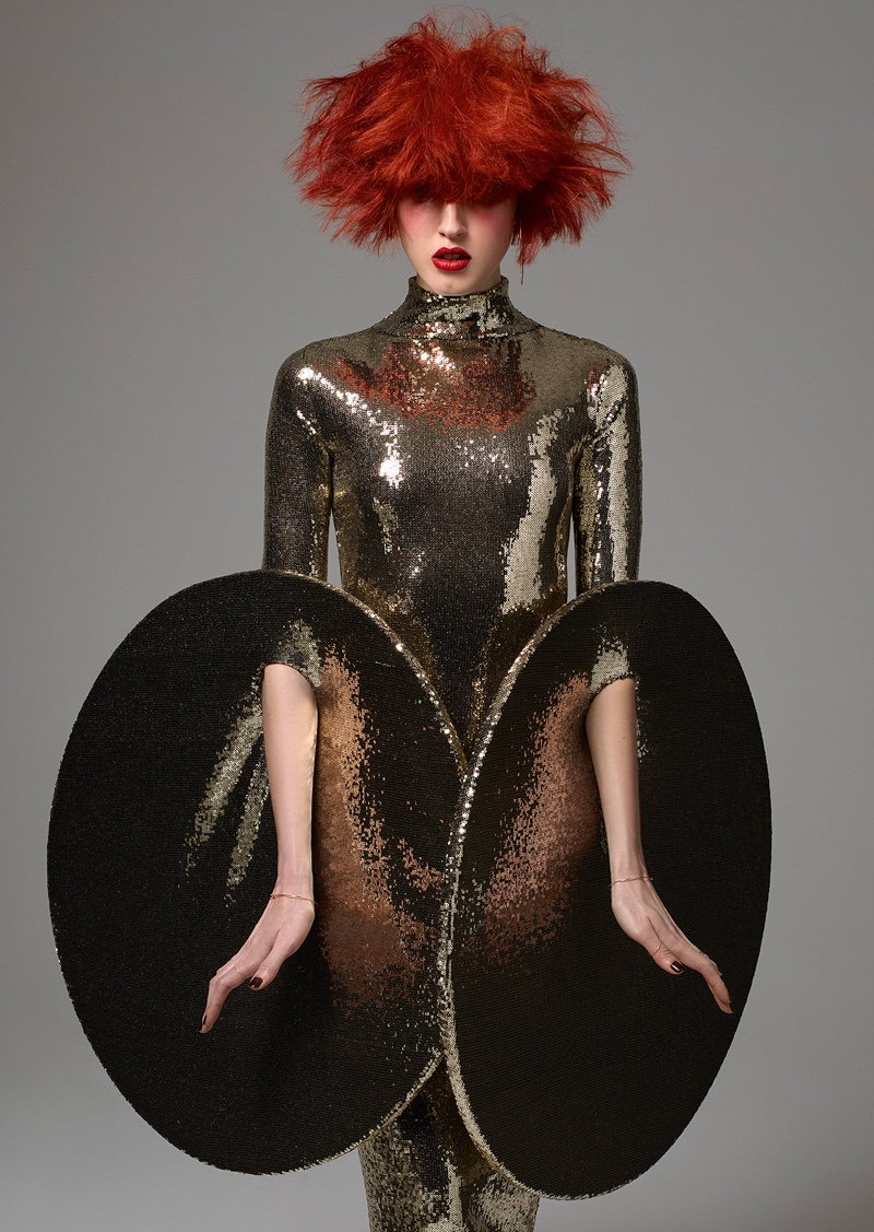 Shining in sequins, Anna Cleveland wears long sleeve metallic dress. Photo: Jean-Baptiste Mondino