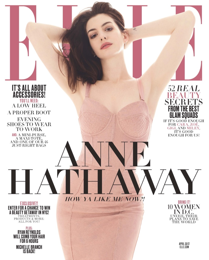 Anne Hathaway on ELLE Magazine April 2017 Cover
