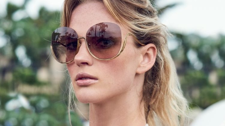 Anne Vyalitsyna Models the Season's Must-Have Sunglasses from Saks Fifth Avenue