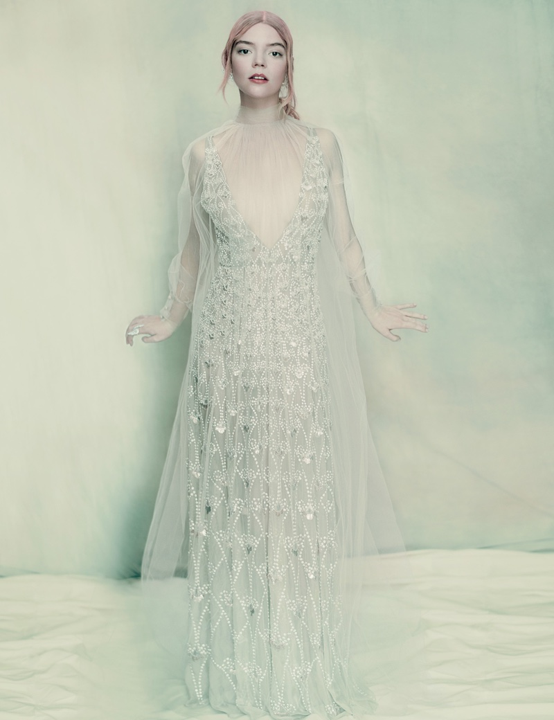 Anya Taylor-Joy looks like an ice princess in Valentino Haute Couture gown