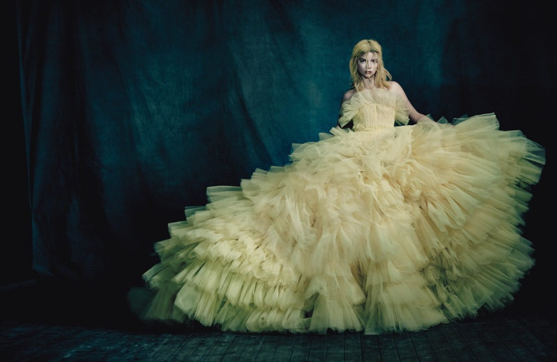Bringing on the drama, Anya Taylor-Joy poses in Giambattista Valli Haute Couture gown