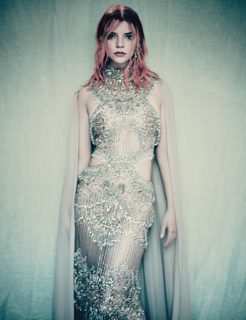 Actress Anya Taylor-Joy wears Elie Saab Haute Couture gown with cape