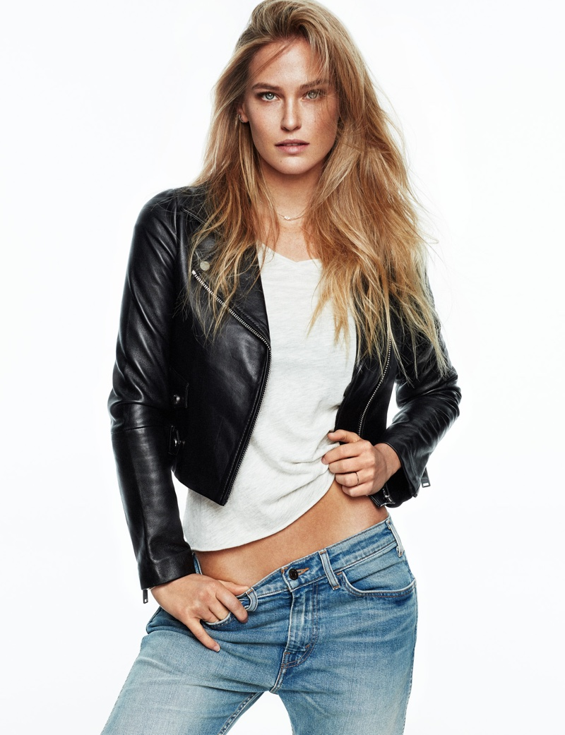 Photographed by Xavi Gordo, Bar Refaeli wears denim style