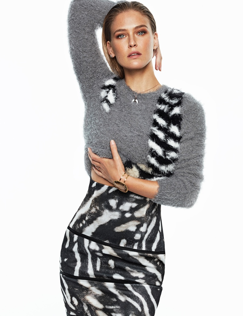 Bar Refaeli poses in Max Mara mohair sweater and printed skirt