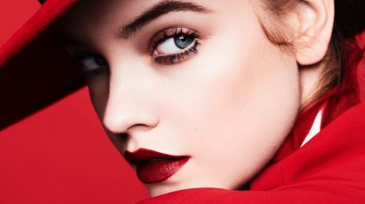A lady in red, Barbara Palvin wears Eric Davits hat and Salvatore Ferragamo jacket