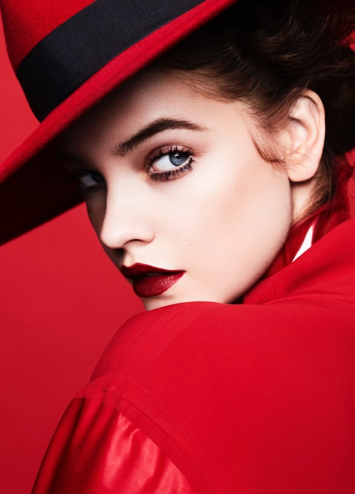A lady in red, Barbara Palvin wears Eric Javits hat and Salvatore Ferragamo jacket