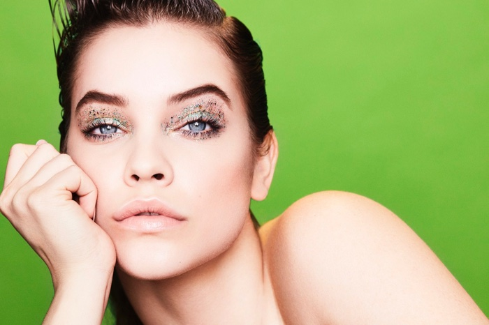 Model Barbara Palvin wears glittery eyeshadow in Fashion Unfiltered